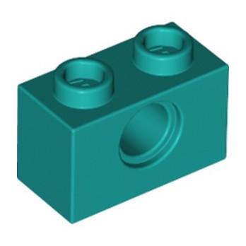LEGO 6345402 TECHNIC BRICK 1X2, Ø4.9 - BRIGHT BLUEGREEN