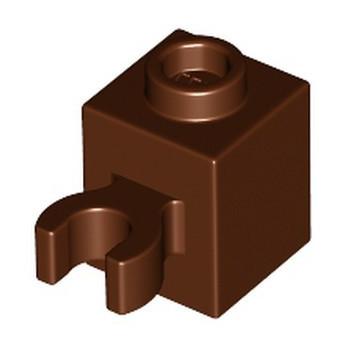 LEGO 6325717 BRICK 1X1 W/HOLDER, H0RIZONTAL - REDDISH BROWN