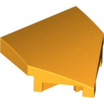 LEGO 6339302 PLATE W/ BOW 2X2X2/3, 45° - FLAME YELLOWISH ORANGE