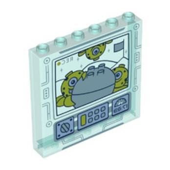 LEGO 6346805 WALL 1X6X5 PRINTED DISNEY - TRANSPARENT BLUE