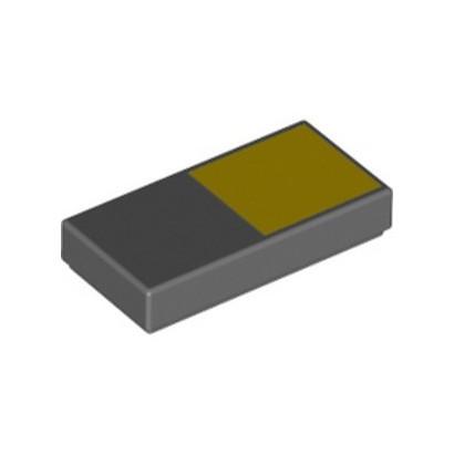 LEGO 6323919 FLAT TILE 1X2 PRINTED - DARK STONE GREY