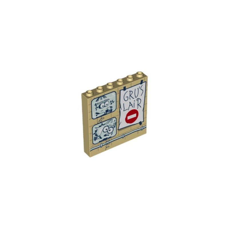 LEGO 6303518 WALL 1X6X5 PRINTED MINION - TAN