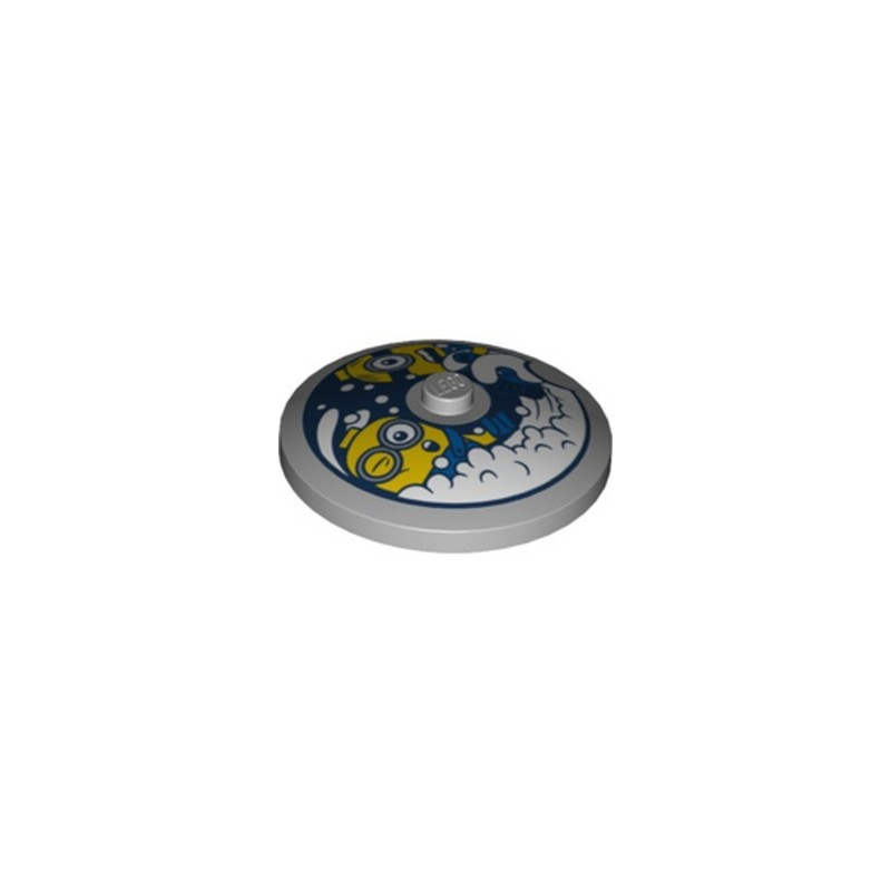 LEGO 6303522 ROUND PLATE 4X4 Ø32X6.4 PRINTED MINION - MEDIUM STONE GRREY