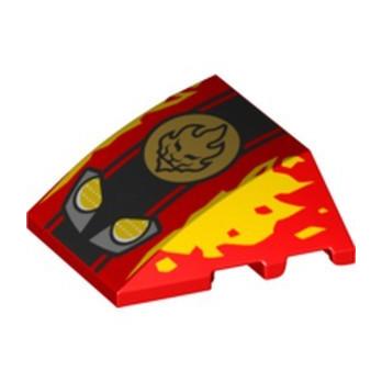 LEGO 6341730 BRICK 4X3 W. BOW/ANGLE PRINTED NINJAGO - RED