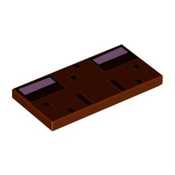 LEGO 6353254 FLAT TILE 2X4, PRINTED - REDDISH BROWN
