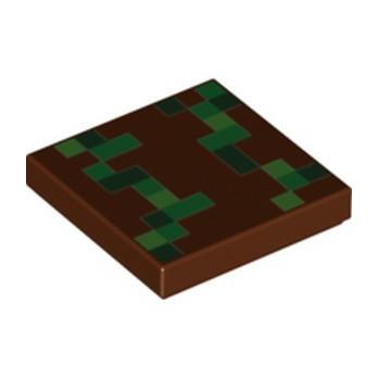 LEGO 6353255 FLAT TILE 2X2, PRINTED - REDDISH BROWN