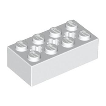 LEGO 6244919 BRICK 2X4 W/ CROSS HOLE - WHITE