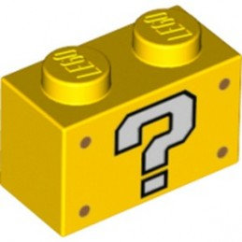 LEGO 6353866 BRICK 1X2, PRINTED - YELLOW