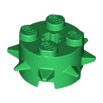 LEGO 6299948 ROUND 2X2 W/ SPIKES - DARK GREEN
