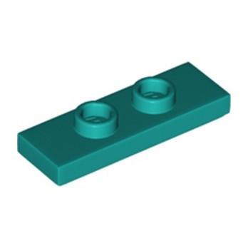 LEGO 6334098 PLATE 1X3 W/ 2 KNOBS - BRIGHT BLUEGREEN