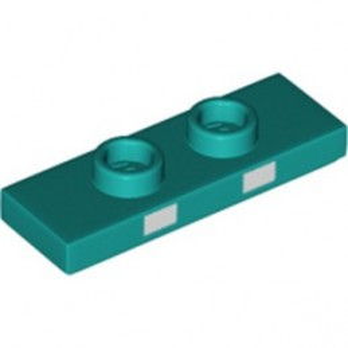 LEGO 6334686 PLATE 1X3 W/ 2 KNOBS PRINTED - BRIGHT BLUEGREEN