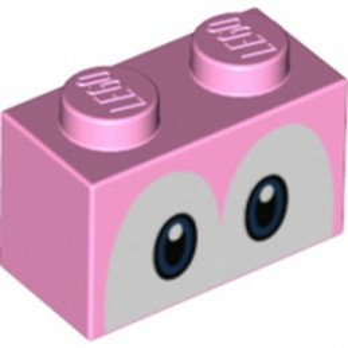LEGO 6353864 BRIQUE 1X2, IMPRIME - ROSE CLAIR