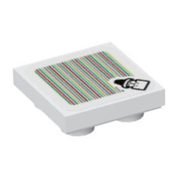 LEGO 6366199 PLATE 2X2 INV, IMPRIME SUPER MARIO - BLANC