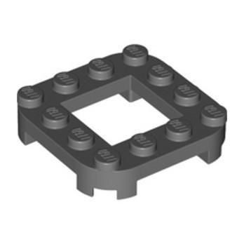LEGO 6361035 PLATE 4X4X2/3, CIRCLE, 2X2 HOLE - DARK STONE GREY