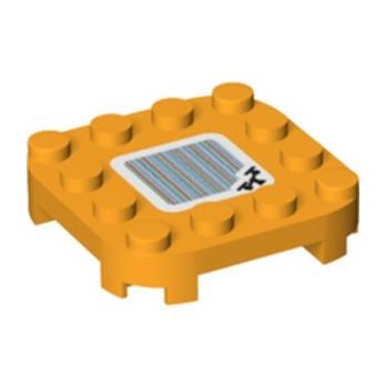LEGO 6360150 PLATE 4X4X2/3 CIRCLE W/ REDUCED KNOBS PRINTED - FLAME YELLOWISH ORANGE