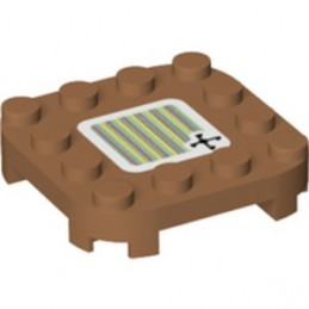 LEGO 6360143 PLATE 4X4X 2/3 W/ BOW, PRINTED SUPER MARIO - MEDIUM NOUGAT