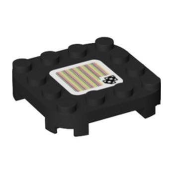 LEGO 6366020 PLATE 4X4X 2/3 W/ BOW, PRINTED SUPER MARIO - BLACK