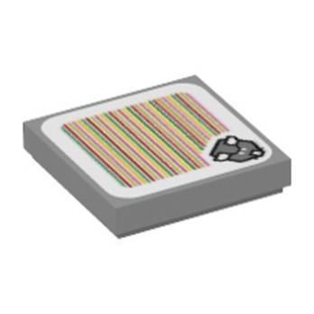 LEGO 6354330 FLAT TILE 2X2, PRINTED SUPER MARIO - MEDIUM STONE GREY