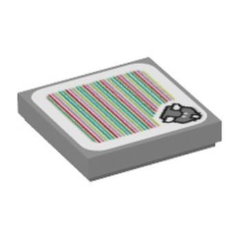 LEGO 6354334 PLATE LISSE 2X2, IMPRIME SUPER MARIO - MEDIUM STONE GREY