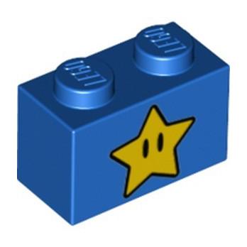 LEGO 6334673 BRICK 1X2, PRINTED STAR SUPER MARIO - BLUE