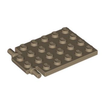 LEGO 4595712 PLATE 4X5 W. SHAFT Ø3.2 - SAND YELLOW
