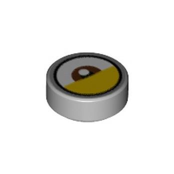 LEGO 6303535 FLAT TILE 1X1X 1/3 ROUND EYE PRINTED - MEDIUM STONE GREY