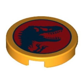LEGO 6364560 FLAT TILE ROUND 2X2 JURASSIC WORLD PRINTED - FLAME YELLOWISH ORANGE