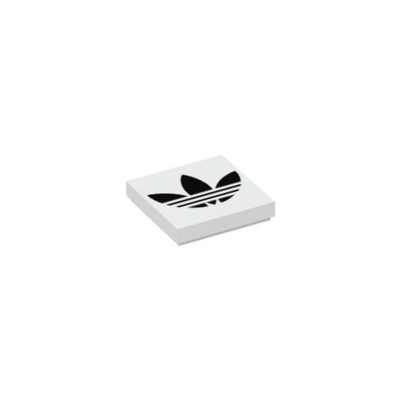 LEGO 6333985 FLAT TILE 2X2, ADIDAS LOGO PRINTED - WHITE