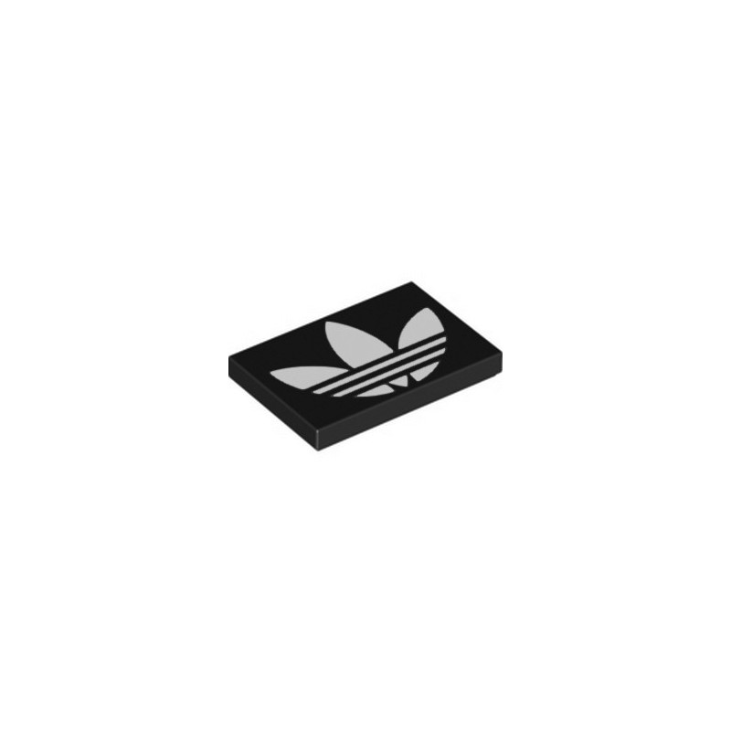 LEGO 6333986 FLAT TILE 2X3, PRINTED ADIDAS - BLACK