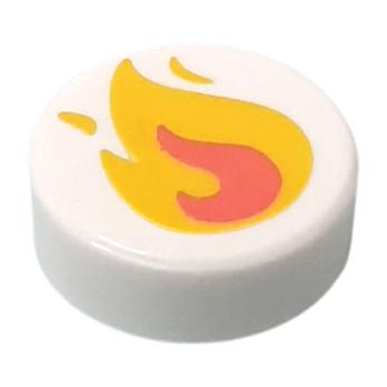 LEGO FLAT TILE ROUND 1X1 PRINTED - WHITE