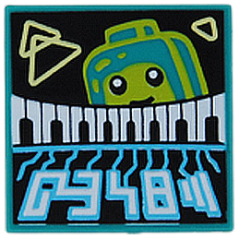 LEGO 6341649 PLATE 2X2 PRINTED - BRIGHT BLUEGREEN