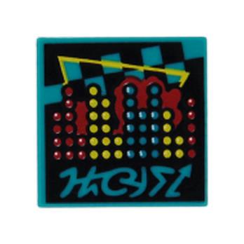 LEGO FLAT TILE 2X2 PRINTED - BRIGHT BLUEGREEN
