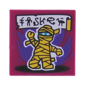 LEGO FLAT TILE 2X2 PRINTED - MAGENTA