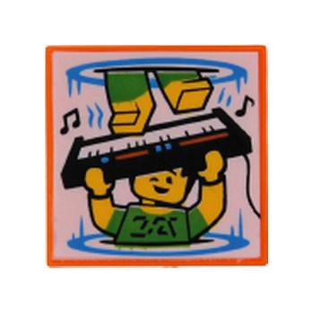 LEGO FLAT TILE 2X2 PRINTED - ORANGE