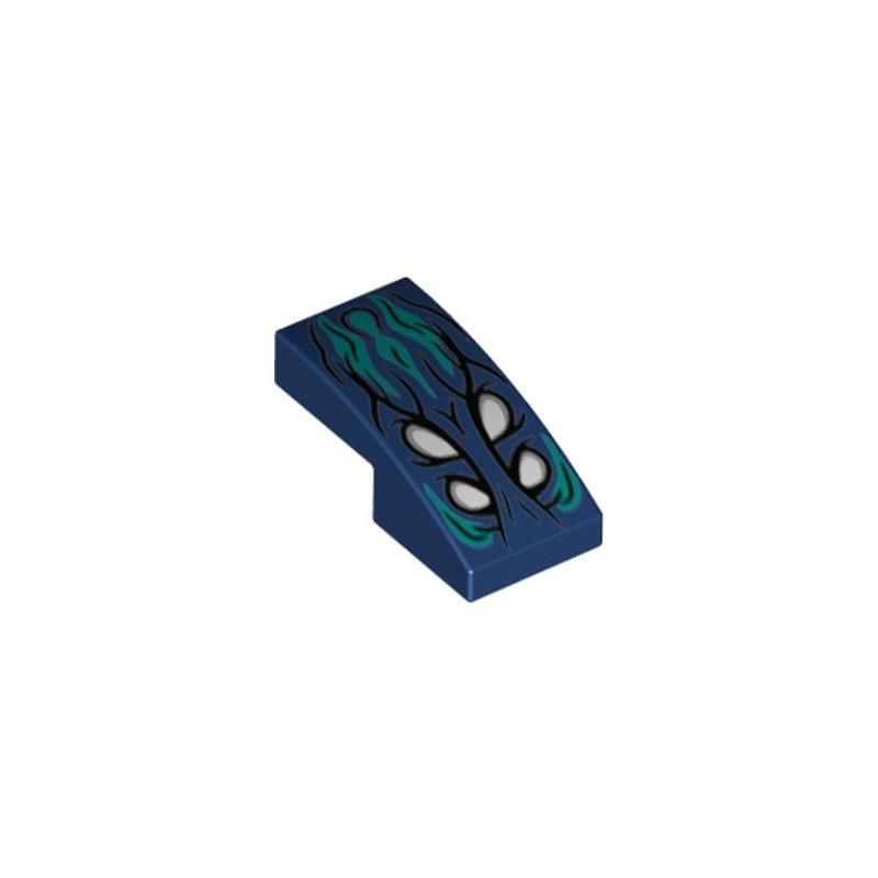 LEGO 6319989 PLATE W/ BOW 1X2X 2/3 PRINTED - EARTH BLUE