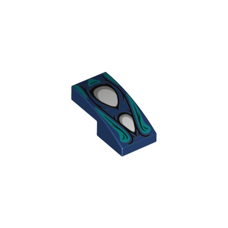 LEGO 6319781 PLATE W/ BOW 1X2X 2/3 PRINTED - EARTH BLUE