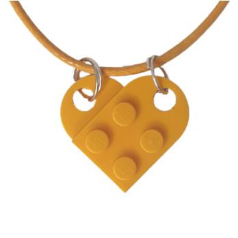 Collana cuore in mattoncini Lego® - Flame Yellowish Orange