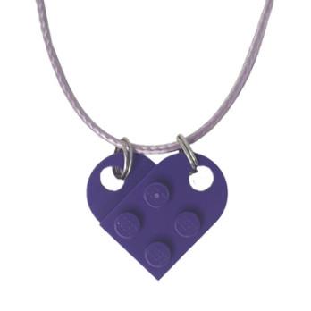 Collana cuore in mattoncini Lego® - Medium Lilac