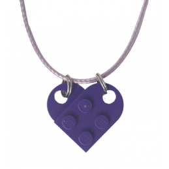 Collar de corazón de ladrillo Lego® - Medium Lilac