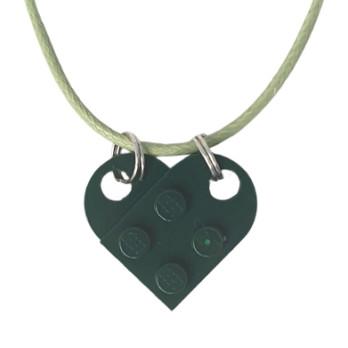 Collar de corazón de ladrillo Lego® - Earth Green