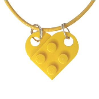 Collar de corazón de ladrillo Lego® - Yellow