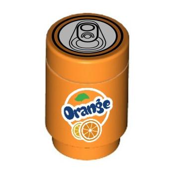 """Canette Soda """"Orange"""" imprimée sur Brique Lego® 1X1"""