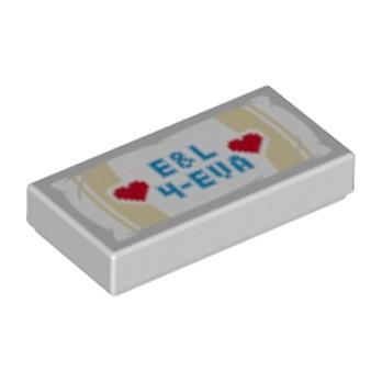 LEGO 6254761 FLAT TILE 1X2 PRINTED - MEDIUM STONE GREY