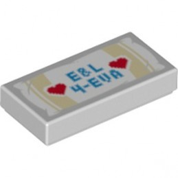 LEGO 6254761 PLATE LISSE 1X2 IMPRIME - MEDIUM STONE GREY