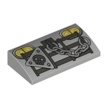 LEGO 6254747 BRIQUE DOME 2X4X2/3 IMPRIME - MEDIUM STONE GREY