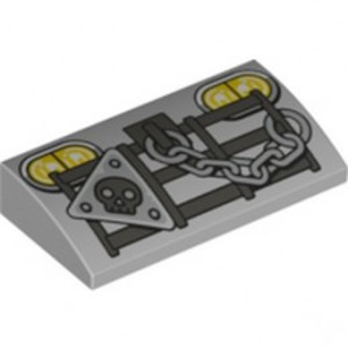 LEGO 6254747 PLATE W/ BOW 2X4X2/3 PRINTED - MEDIUM STONE GREY