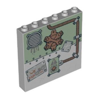LEGO 6254686 MUR/CLOISON 1X6X5 IMPRIME - MEDIUM STONE GREY