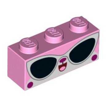 LEGO 6273207 BRIQUE 1X3 IMPRIME - ROSE CLAIR