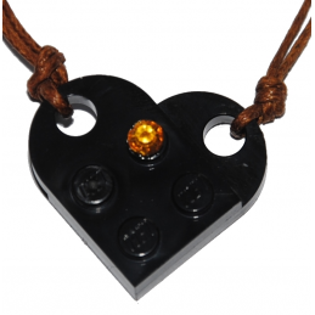 Collier Brique Lego - Coeur Noir strass Topaze