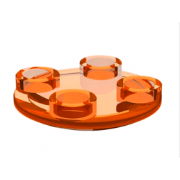 LEGO 4164004 ROND LISSE 2X2 INV  - Orange Fluo Transparent
